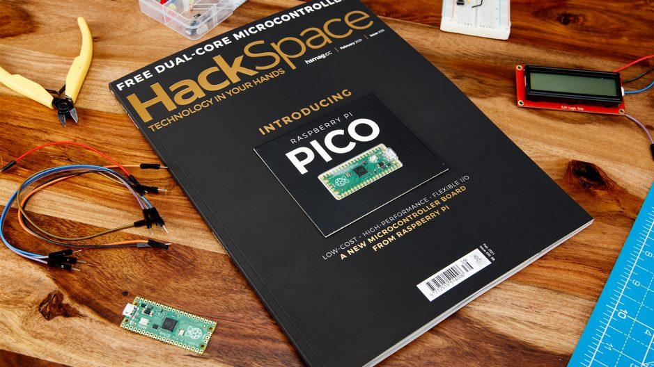 Photo du Raspberry Pi Picro avec le magasine hackSpace